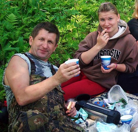Killed: Olga Moskalyova (right) and her stepfather Igor Tsyganenkov (left) were both eaten alive by bears