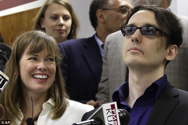 Reunited: Damien Echols, right, and his wife Lorri attend the news conference together after he was freed
