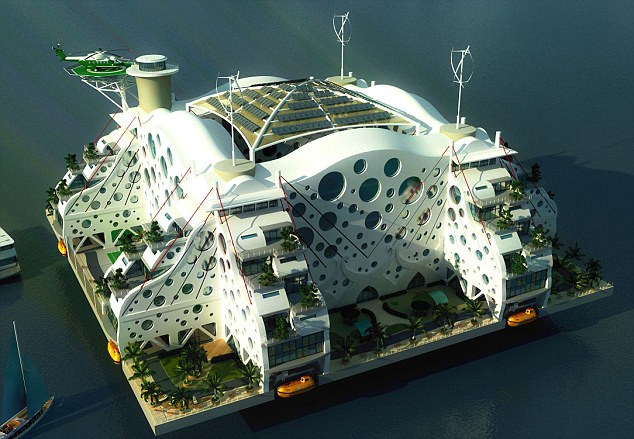Design for living: This island even has a high-level helicopter pad. The cities would be constructed on oil-rig like terminals 