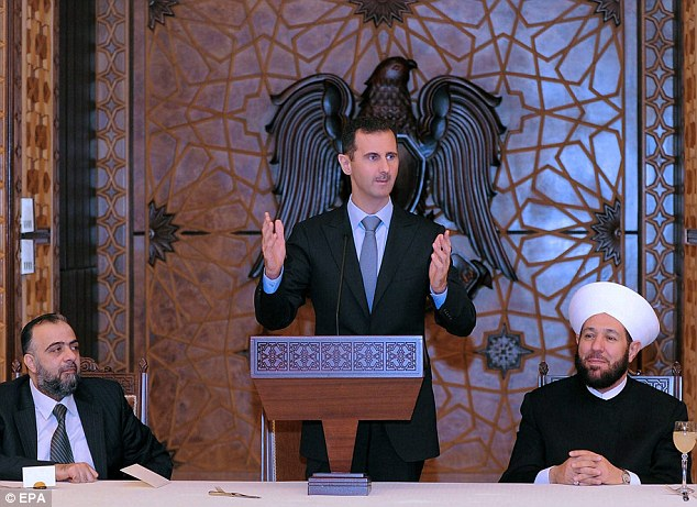 President Assad, who inherited the Syrian leadership in 2000 and is pictured speaking on Thursday in Damascus, used to encourage the cartoonist