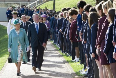 Out in force: A large number of children were on show to meet the Queen ahead of a garden party that formed part of the state reception