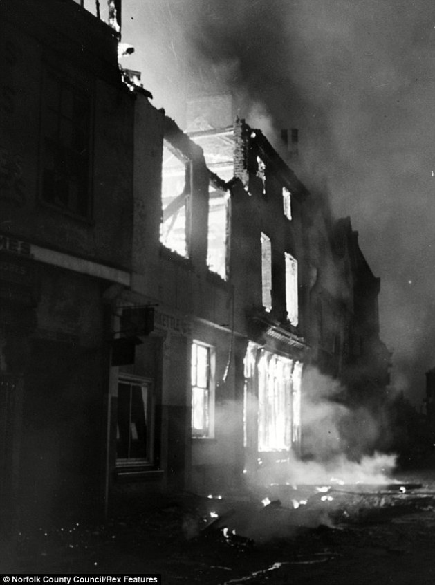 A building on St Stephen's road in the centre of the city is engulfed in flame