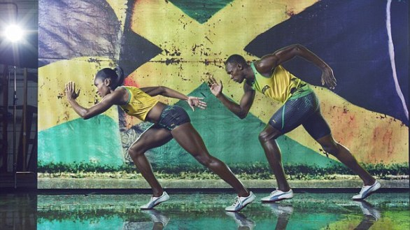 Sharp: Jamaican sprinter Usain Bolt wearing the 2012 Jamaican Olympic kit with Cedella Marley