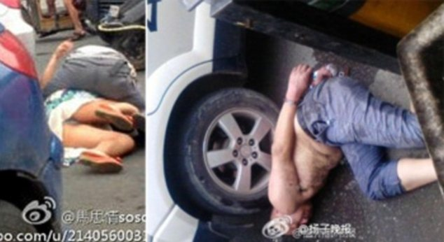 Attack: A man named Dong was seen gnawing on the face of a woman (left) but was later arrested (right)
