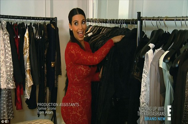 Lady's choice: Kim was stunned to find racks of clothing in her hotel room upon her arrival