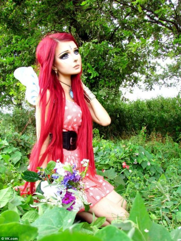 Doll-like proportions: The diminutive teenager's 'flower fairy' make-up tutorial has been watched more than 150,000 times on YouTube