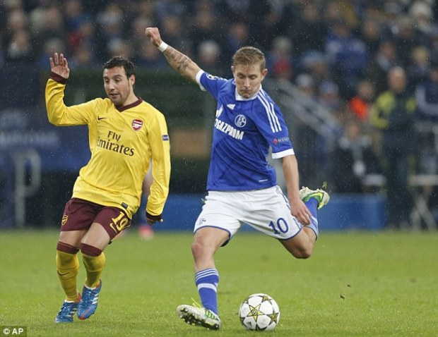 Missing out: Lewis Holtby, seen here playing for his club Schalke against Arsenal, chose to play for Germany rather than England
