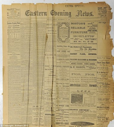 Historic: The front page of the Eastern Evening News on Monday 18th December 1905 - the day after Mary Snelling was born in Norfolk