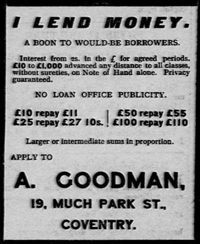 Wonga Edwardian style: Adverts from 1912 show loan sharks were offering the equivalent of £ ...