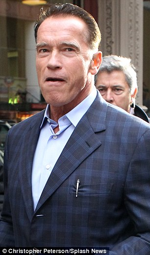 Hair not apparent: Arnold showed off his severe crew cut as he shopped in New York