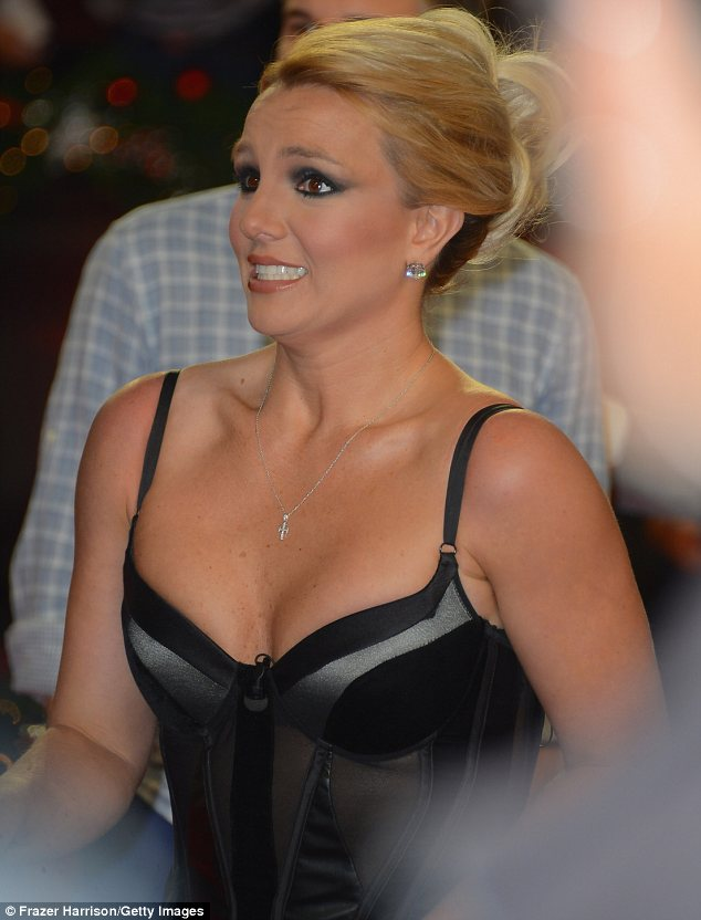Skin on show: The star's gown had leather and sheer panels and displayed plenty of Britney's ample cleavage