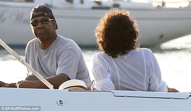 So happy together: Denzel was enjoying some yacht time with his wife of 29 years, Pauletta