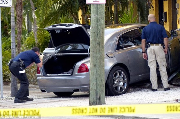 Investigating: Officers look at the wrecked car