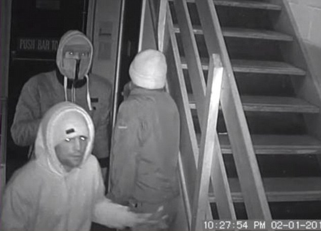Vandals: Three members of the gang are pictured inside the community centre. Catherine Murphy, who owns the centre, said she was 'deeply hurt'