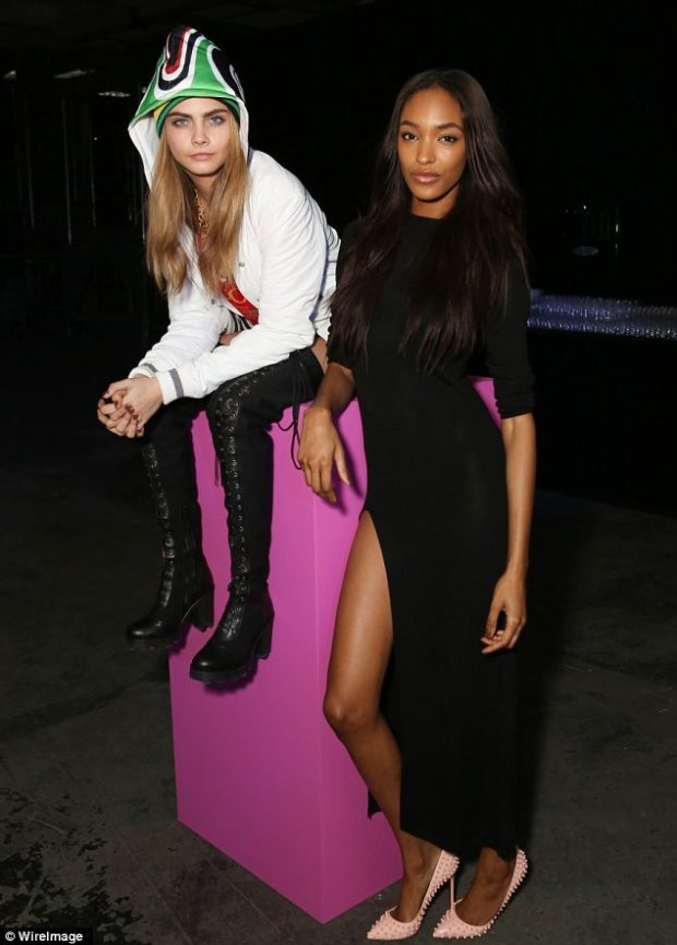 In with the fashion crowd: Cara Delevingne and Jourdan Dunn were among the guests at the show