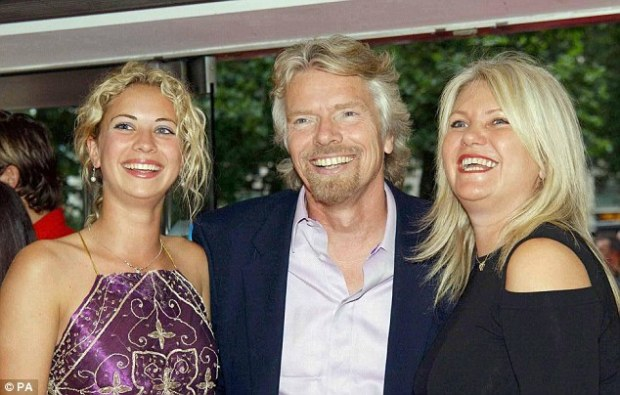 Pledge: Sir Richard, pictured with his daughter Holly (left) and wife Joan (right), wants to help create 'a healthy, equitable and peaceful world for future generations to enjoy' and says his family agrees