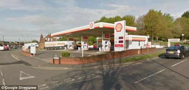 Scene: The victim was about to drive away from this petrol station in Dunstable, Bedfordshire when the attack happened