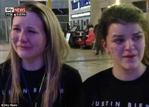 Big upset: Fans of Bieber were seen crying outside the venue after he arrived on stage so late, seen here on Sky News