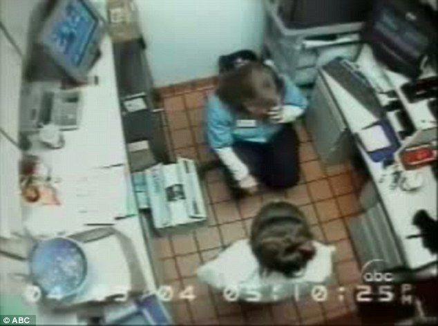 CCTV footage: Louise Ogborn, then 18, had been working for McDonald's for four months when she was called in to the office at the Mount Washington branch in Kentucky and accused of stealing