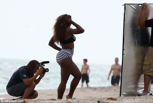 Getting the right light: Serena was accompanied by a photographer and full crew on the cloudy day