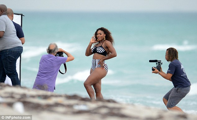 How many photographers does it take to do a photoshoot? Serena was the centre of attention