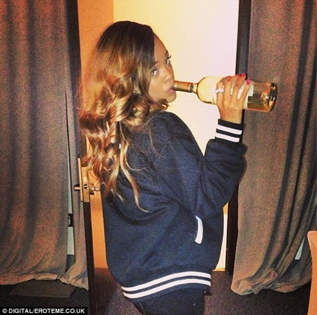 Straight from the bottle! Rihanna didn't seem bothered about finding a glass as she posted a picture of herself necking white wine on Friday