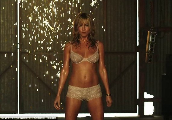 Hotter than ever! Jennifer Aniston, 44, slaps her pert bottom as she strips to underwear in racy We're The Millers trailer