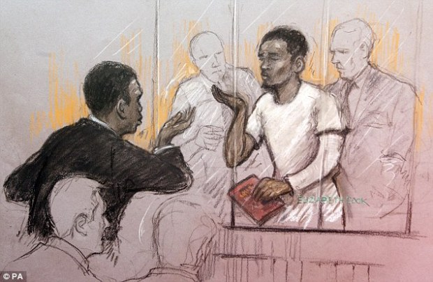 Exchange: Court artist sketch by Elizabeth Cook of a member of the public gallery blowing kisses at Michael Adebolajo in the dock at Westminster Magistrates' Court