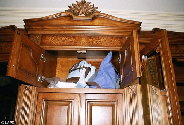 Stash: A medical bag, believed to be Dr Conrad Murray's is tucked away in Jackson's grand closet