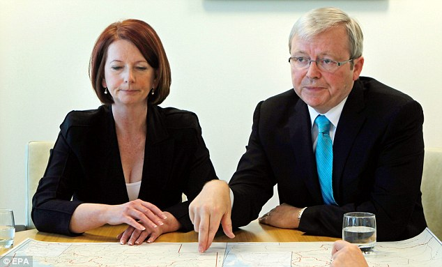 Furious: Former Labour Prime Minister Kevin Rudd (right), who was also targeted n the menu, described the stunt as a 'snide, dirty and sexist trick'