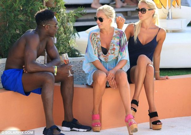 Double the fun: Danny and the blonde were also joined by another attractive female too