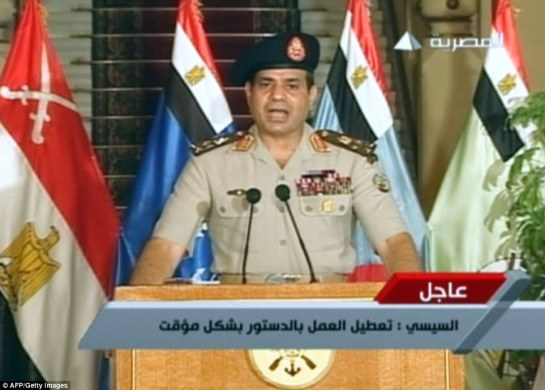 In a televised broadcast General Abdel Fattah al-Sisi effectively declared the removal of elected President Mohamed Morsi