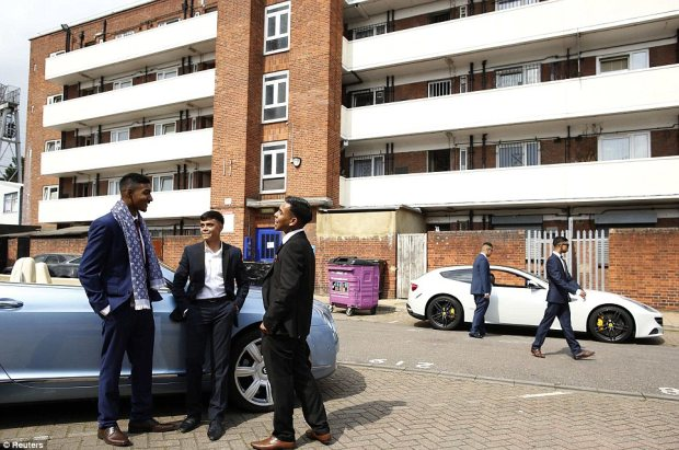 Mates: Schoolboys (L-R) Mahir Magnet Choudhury , 16, Nazmul Islam, 16 and Rezaul Alom, 16, stand by a Bentley, which they hired