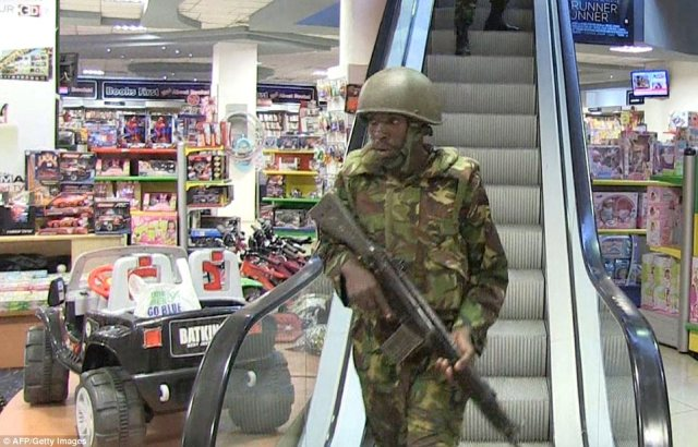 Rescue mission: An image from AFP TV shows military forces taking position inside the shopping mall