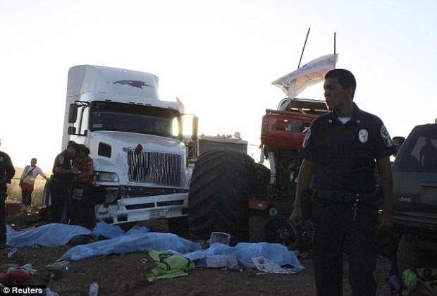 In custody: The monster truck driver survived the crash and was arrested on the scene