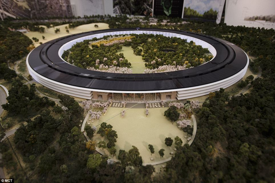 this roomsized mockup of the planned apple headquarters in cupertino was released office