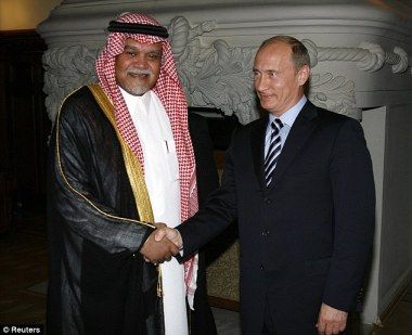 Picking sides: Russian President Vladimir Putin, seen here with bin Sultan, has sided with the Syrian government in the conflict