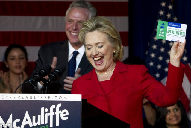 Hillary has been campaigning for Virginia gubernatorial candidate Terry McAuliffe, a former DNC chair and the man who loaned her and Bill Clinton the money to buy their post-presidency house in rural New York