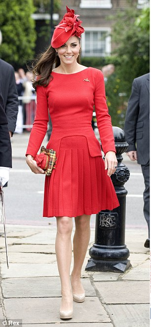 Red alert: Kate's the clear winner as they wear the same Alexander McQueen dress