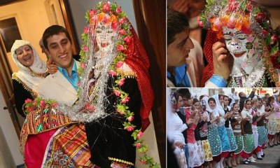 Pictures of Bulgarian bride, caked in 'gelena' face paint ...