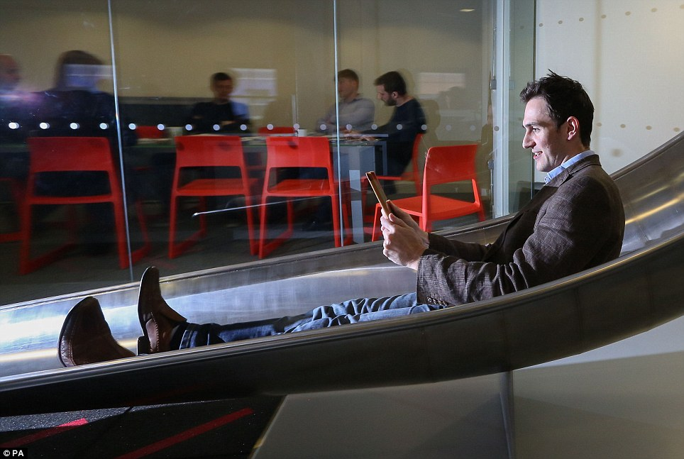 office slide james avery tries out the 20ft indoor which takes workers at google slides
