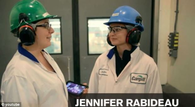 Jennifer Rabideau (right), a McDonald's scientist, conducts the video tour of the McNuggets factory in Cargill, Ontario, Canada. It produces the snacks for McDonald's restaurants across Canada.