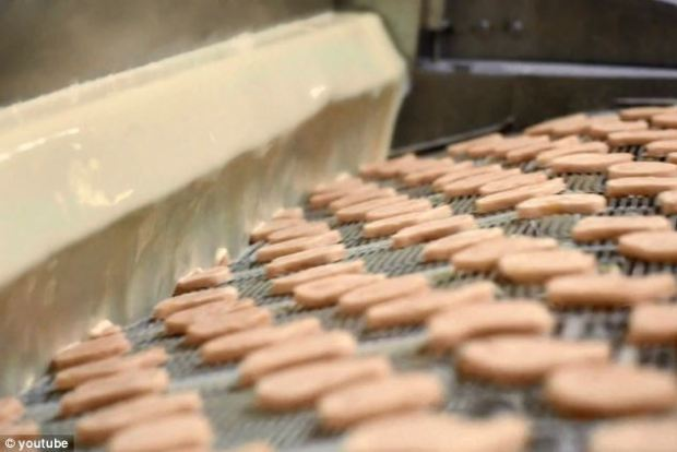 Almost ready: the ground breast meat and skin is shaped into small patties which are then coated in two different batters