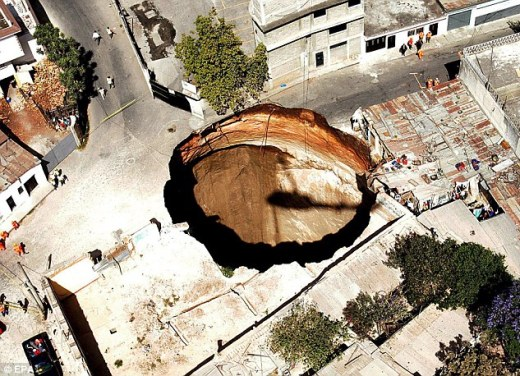 Vanished: 20 holes disappeared after a 150m-wide sink hole opened up in Guatemala