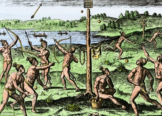 An engraving showing Native Americans running, shooting arrows and throwing balls in Florida during the 1500s. Most Native Americans are descended from a small group of migrants that crossed a 'land bridge' between Asia and America during the ice ages more than 15,000 years ago