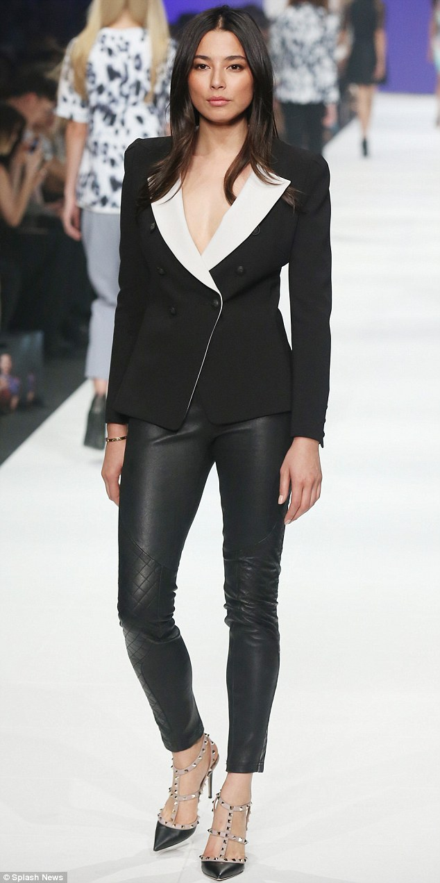 Sleek look: Jess also rocked a Camilla and Marc blazer teamed with hot leather pants