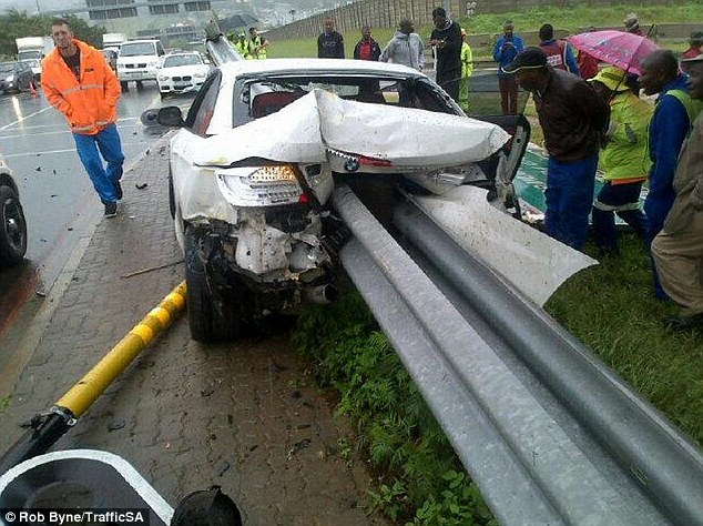 Terrifying: The Orlando Pirates defender had lost control of his car on a wet road before crashing