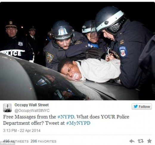 Critics took the opportunity to post damning pictures on the hastag #MyNYPD, taking aim at such issues as excessive force and the controversial 'stop and frisk' practices