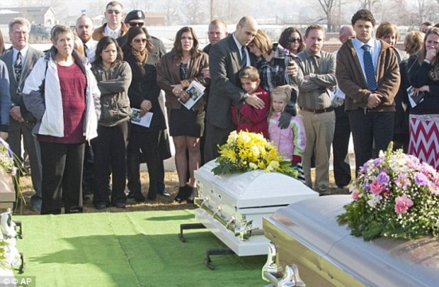 Tearful relatives pay respects to 'amazing, wonderful' family killed by police officer dad in quadruple murder suicide including victims  Kelly Boren, her children, Jaden and Haley, and her mother, Marie King