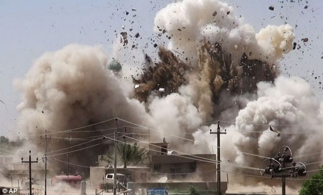 Rampage: The attack is the latest in the ISIS's violent rampage across Iraq. Earlier this week, a series of images (including the one pictured) emerged showing the destruction of almost a dozen shrines and Shia mosques in Mosul, Iraq's second largest city, and the town of Tal Afar, which is also currently under ISIS control